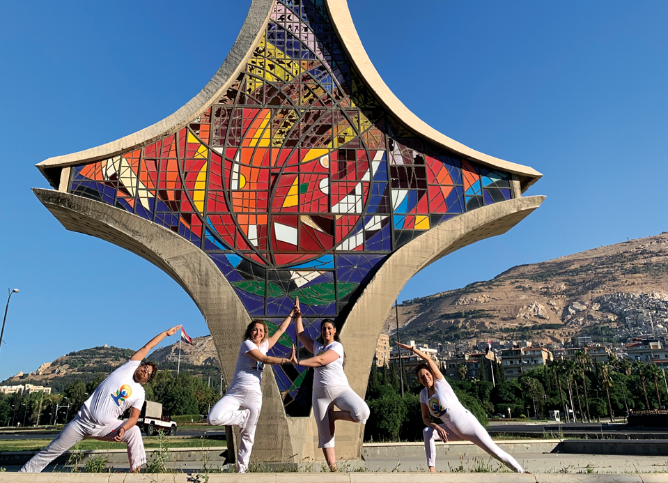 Participants for the International Yoga day in Damascus, Syria