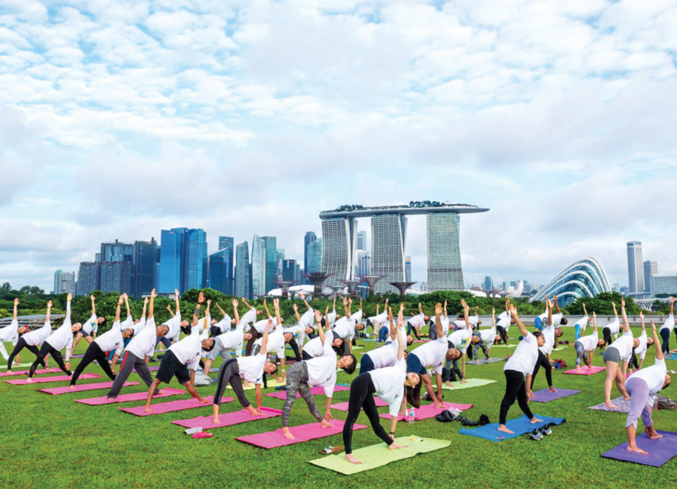 A yoga camp organised to celebrate the International Yoga day in Singapore