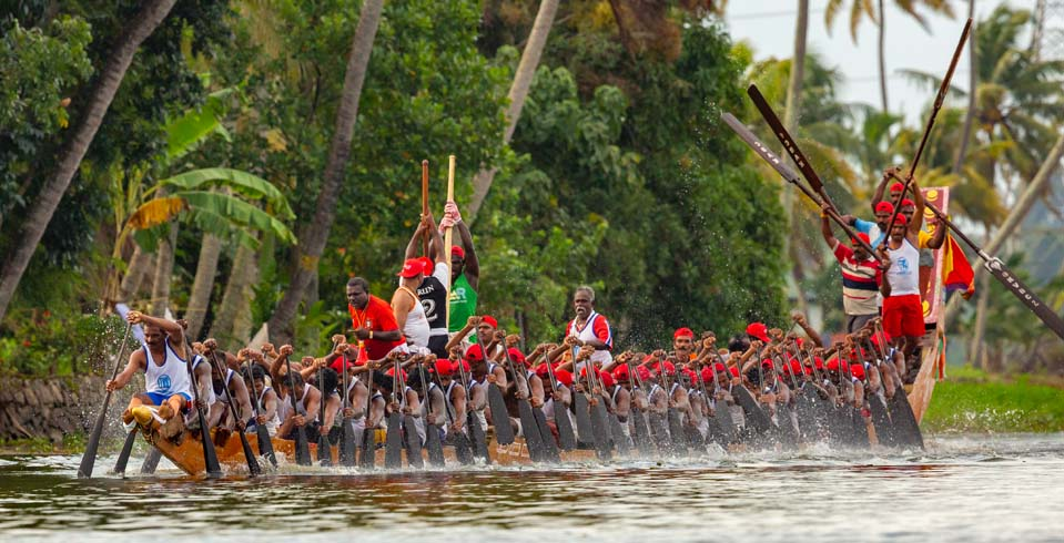 A preliminary timetrial of a snake boat team,participating in the race