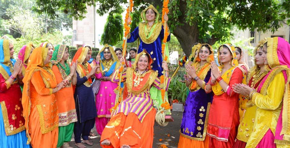 Indian women take part in Teej festival celebrations in Amritsar, Punjab