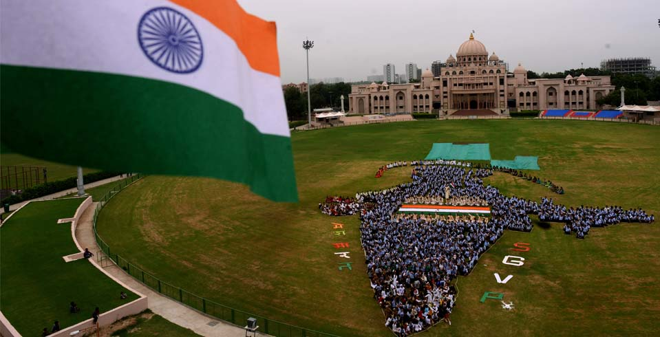 Students from a school in Ahmedabad during the celebrations for Independence Day