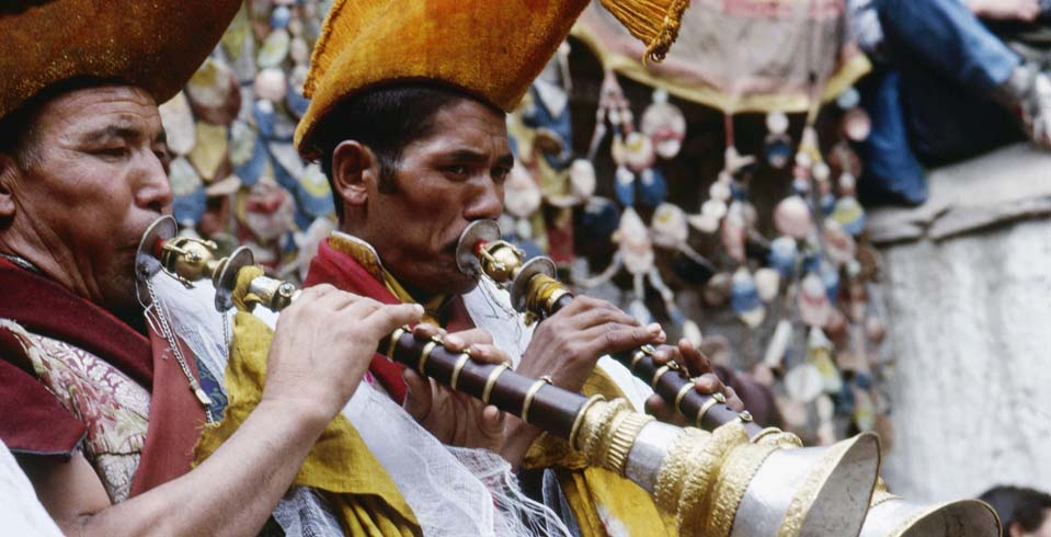 Trumpeters during the Ladakh harvest festival at the Tikse Monastery in Ladakh