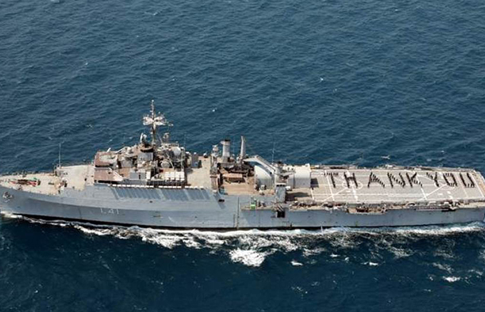 Crew of INS Jalashwa of the Indian Navy spell 'Thank You' for the efforts of India's frontline corona warriors as part of the 'Armed Forces Salute Corona Warriors' initiative on May 3