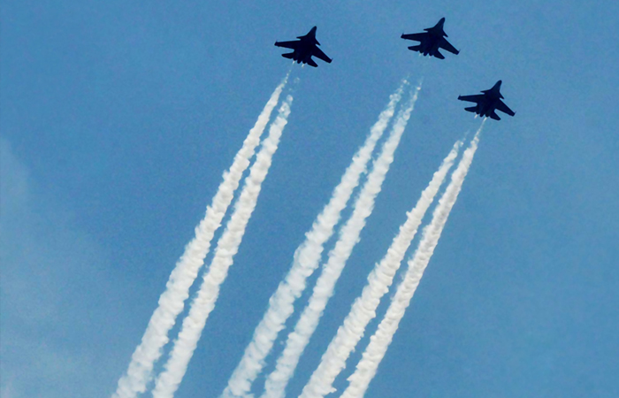 Three aircraft of the Indian Air Force fly over the India Gate to express gratitude towards all frontline workers, including medical professionals, police and sanitation workers for their contribution in the fight against COVID-19 on May 3