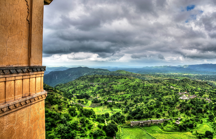 The majestic Kumbalgarh fort in Rajasamand, Rajasthan.  The UNESCO listed heritage fort is at its most beautiful during the monsoon