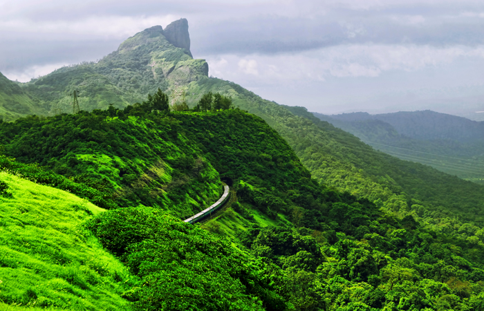 Some of the mostpicturesque train journeys in India are on the iconic Konkan Railway that runs across the Western Ghats, a mountain range parallel to India's western coast. During monsoon, the fresh green vistas here are stunning