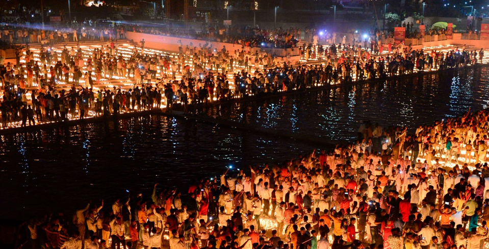 Diwali (November 14, this year) marks the victory of light over darkness. Here, people gather with oil lamps on the banks of River Sarayu in Ayodhya, Uttar Pradesh in 2019