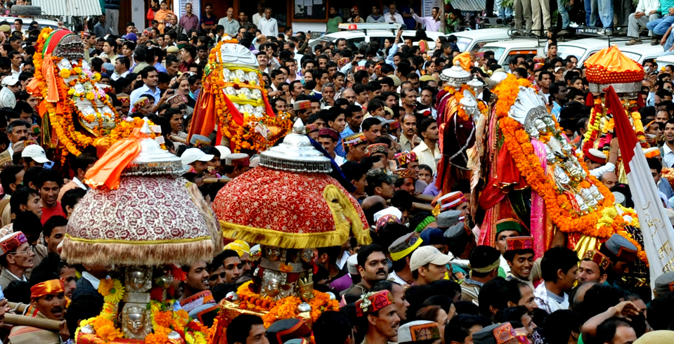On Dussehra, it is said that all the devatas (gods) of Kullu, Himachal Pradesh, come out and proceed with their band of musicians towards the temple of Raghunathji (Lord Rama)