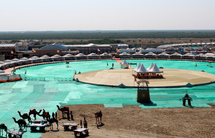 A panoramic view of the tent city at Dhordo, a small village situated on the edge of the Rann of Kutch. Semi-luxurious with such amenities as air conditioners, heaters and state-of-the-art restrooms, these tents host guests attending the Rann Utsav