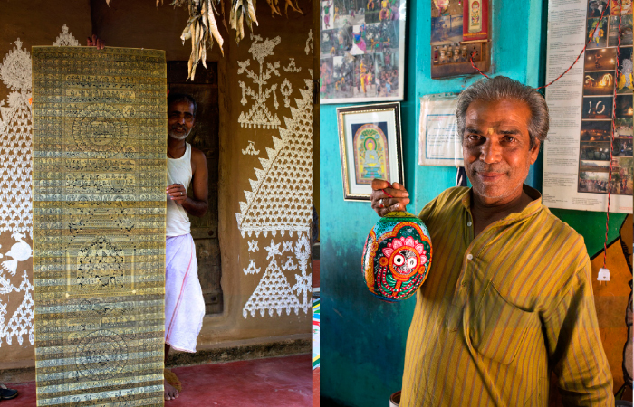 Raghurajpur is also famous for the art of talapatachitra where intricate patterns and designs are delicately carved on dried palm leaves;