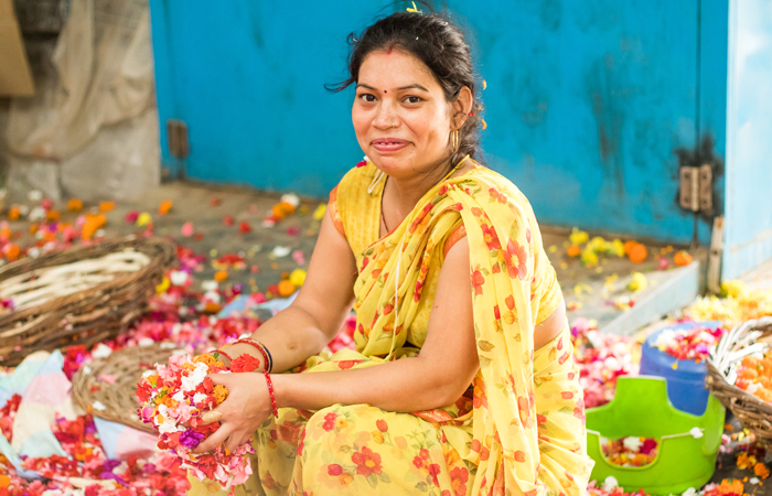 At Phool's factory, based in Kanpur, flowers collected from temples and River Ganges (over 2.5 tons daily) in and around Kanpur are manually segregated by women before being processed into incense sticks and vermicompost