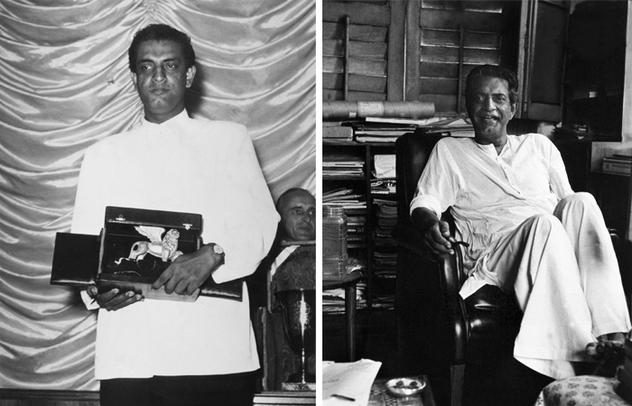 Left: Ray received the Golden Lion, the highest award accorded to a film at the Venice Film Festival, for his film Aparajito, on September 9, 1957; Right: An archival image of Ray at his home in Kolkata