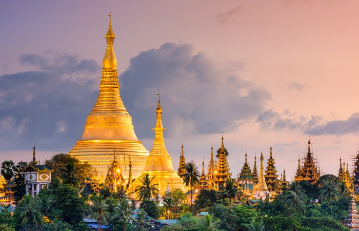 The beautiful Shwedagon Pagoda in Myanmar, which enshrines strands of Lord Buddha's hair and other holy relics