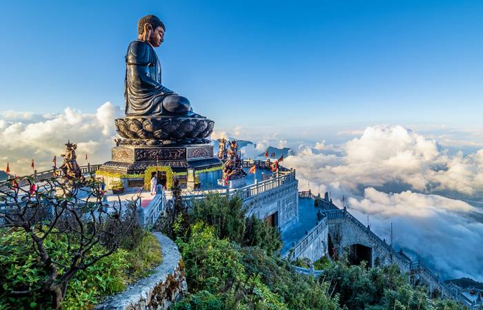 A statue of Lord Buddha located at a pagoda complex on Mount Fansipan in Sa Pa, a town in the Lao Cai Province of Vietnam