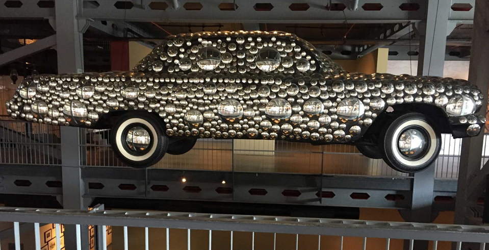 One of the most attractive displays at the Heritage Transport Museum is that of a 1962 Chevrolet covered in dome mirrors suspended in the atrium