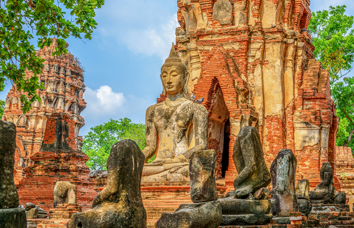 A statue of Lord Buddha at the Wat Mahathat Temple in Ayutthaya, Thailand