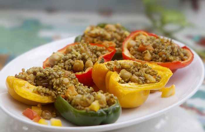 bell peppers stuffed with millets and chickpeas