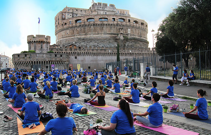 To mark the International Day of Yoga 2021, the Embassy of India, Rome, Italy, organised a large-scale yoga session on June 19, 2021, in a stunning and historical part of the city, Castel Sant'Angelo, with a spectacular backdrop of the Castel and with the Tiber river flowing on the side. Hundreds of participants gathered to perform the yoga protocol guided by representatives of 10 yoga associations