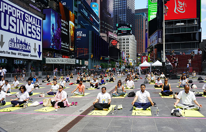 As a part of celebrations of International Day of Yoga, the Consulate General of India in New York organised a day-long event to showcase yoga, holistic health, Ayurveda and wellness at New York's iconic Times Square. The event was attended by over 3,000 people
