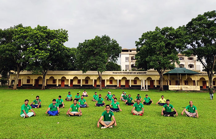 The 7th International Day of Yoga programme, organised by Chirosabuj Sangha Akhaura, was supported by the Assistant High Commission of India, Chittagong, Bangladesh
